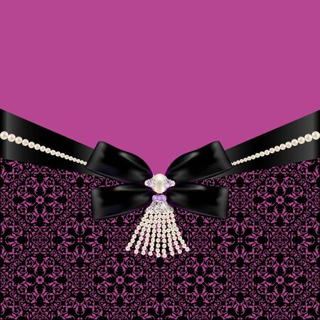 black ribbon bow: Card with black ribbon bow and pearl jewelry Illustration