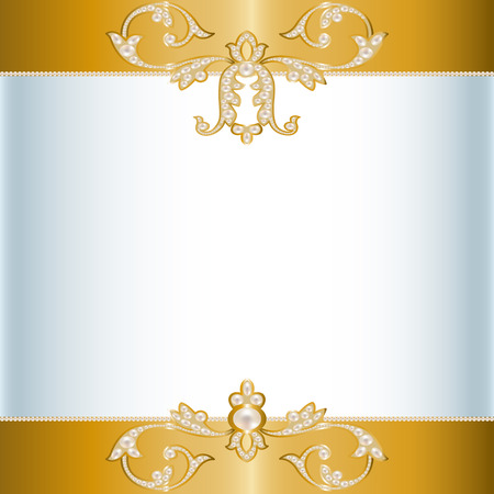 pearl jewelry: Card with a border of pearl jewelry