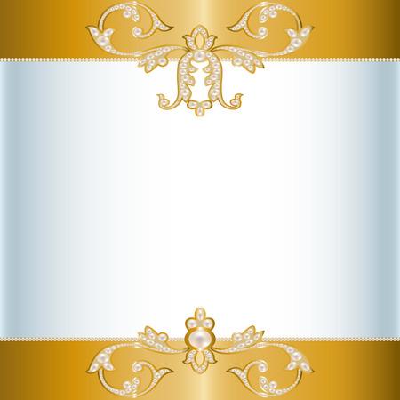 Scheda con un bordo di gioielli di perle Archivio Fotografico - 37147623