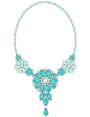 rimmed: Collar de la vendimia con flores de color turquesa bordeado de oro