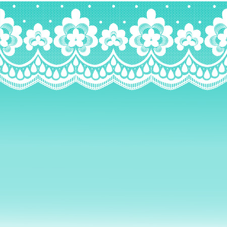 Green background with white lace pattern border