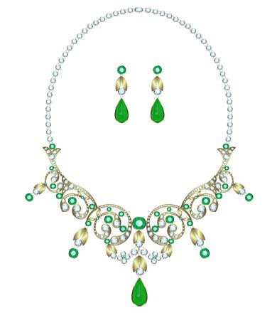 Halskette mit Diamanten und Smaragden und Ohrringe