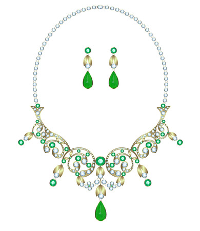 jewelry design: Necklace with diamonds and emeralds and earrings