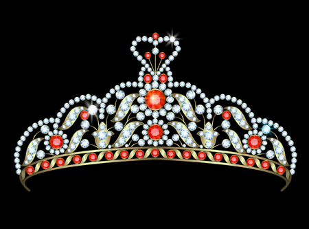 diadem: Vintage gold diadem decorated with diamonds and rubies