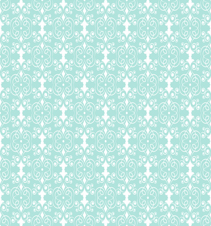 filamentous: Delicate openwork seamless pattern of white filamentous floral ornament on a pale turquoise background Illustration