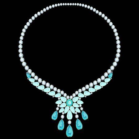 gold necklace: Gold necklace with diamonds and aquamarine flower