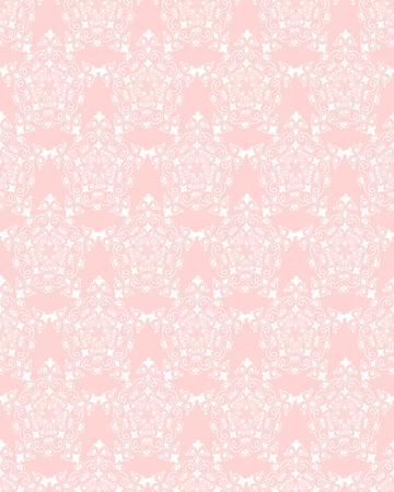 filamentous: Delicate openwork seamless pattern of white filamentous floral ornament on a pale pink background