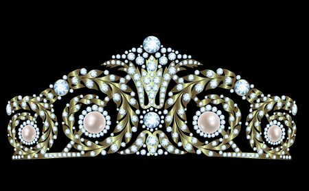 Vintage golden tiara with diamonds and pearls Vettoriali