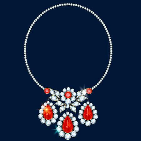diamond necklace: Diamond necklace with three ruby suspension brackets