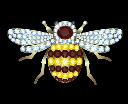 Gold Brooch-bee with diamonds and rubies on a black background
