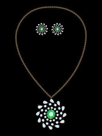 diamond earrings: Gold pendant with diamond and emerald earrings