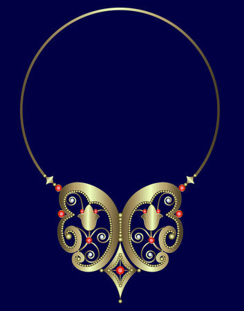 gold necklace: Gold necklace with rubies and diamonds on the hoop