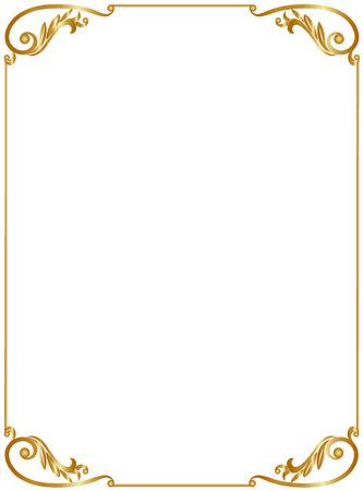 Elegant gold frame isolated on white background