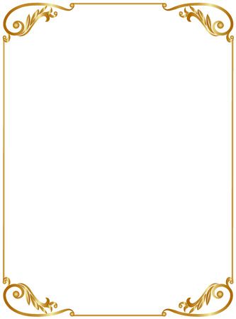 Elegant gold frame isolated on white background
