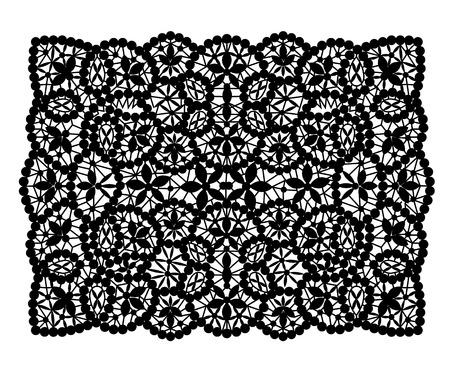 Schwarz Spitzendeckchen rechteckige Form auf einem weißen Hintergrund Vektorgrafik