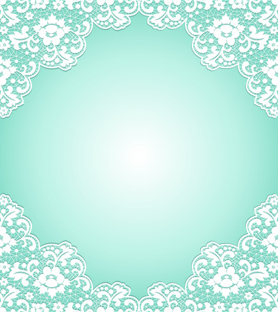 Card with delicate lace borders on turquoise background Çizim