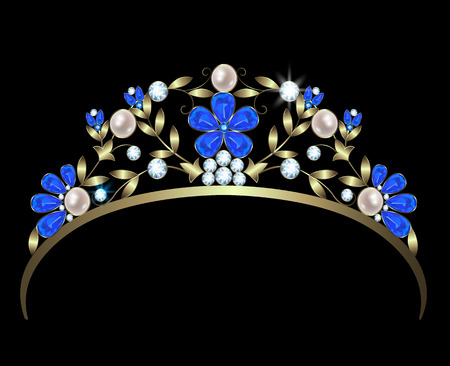 sapphires: Gold diadem with a floral design of diamonds, sapphires and pearls