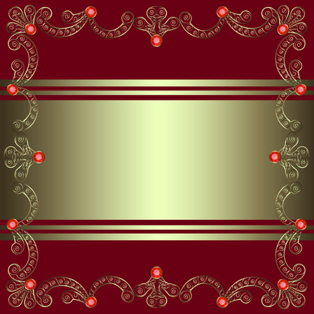 burgundy background: Gold openwork frame with precious stones on a burgundy background Illustration