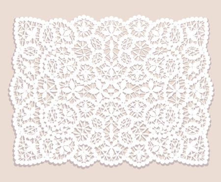 Weiß Spitzendeckchen mit Blumenmuster auf einem beige Hintergrund Standard-Bild - 38474915