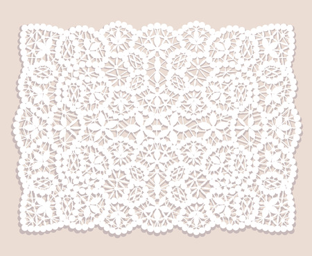 crochet: White lace doily with flowery pattern on a beige background