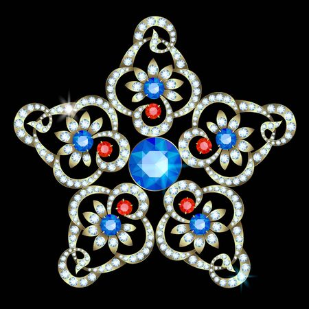 sapphires: Diamond brooch in the shape of a star