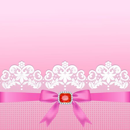 White lace border with a bow on a pink background