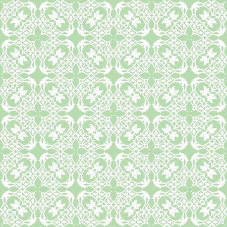 Decorative seamless pattern on a green background