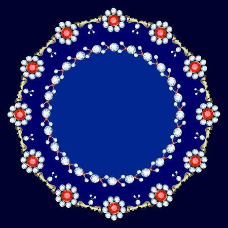 precious: Frame made of precious stones on a  blue background Illustration