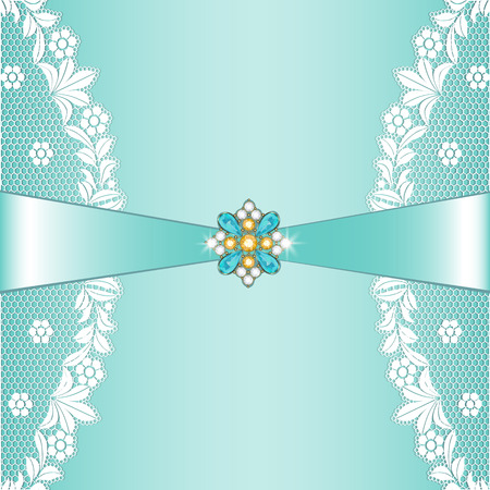 White lace borders with ribbon and jewelery on turquoise