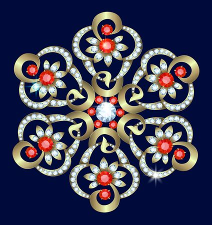 brooch: Flower-shaped gold brooch with diamonds and rubies