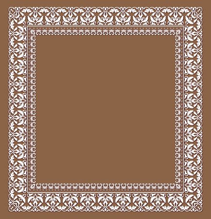 Openwork white frame on a brown background
