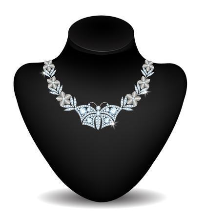 diamond necklace: Diamond necklace with a butterfly on a mannequin