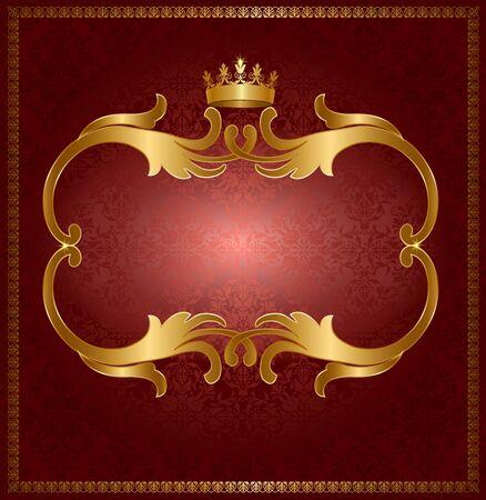 fond brun: Royale trame ajour�e en or sur fond brun Illustration