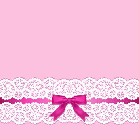 lazo rosa: Frontera blanca de encaje con un arco sobre un fondo de color rosa Vectores