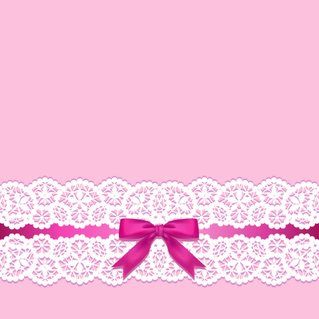 pink ribbons: White lace border with a bow on a pink background