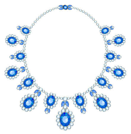 Necklace with sapphires in the diamond framed on a white background Vettoriali