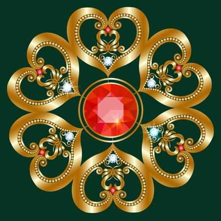The golden brooch in the shape of a flower with diamonds and rubies Vettoriali