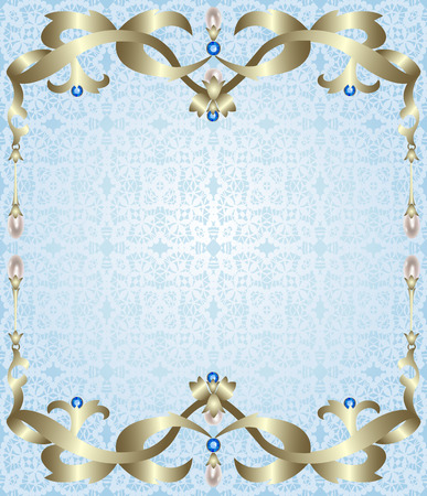 gold jewelry: Gold jewelry frame with sapphires and pearls on lace background Illustration