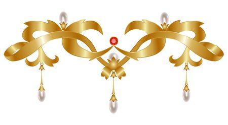 bounty: Joyería de la vendimia de oro con perlas aisladas en blanco Vectores
