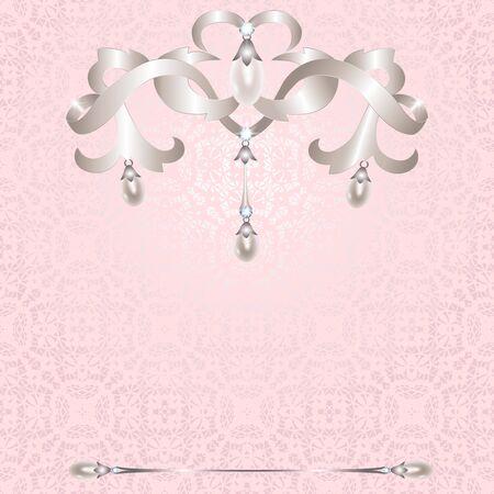 joyas de plata: Joyer�a de plata con perlas en el fondo de color rosa de encaje