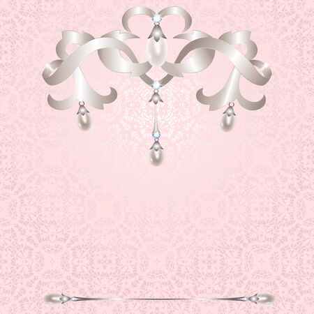 silver jewelry: Silver jewelry with pearls on pink lace background