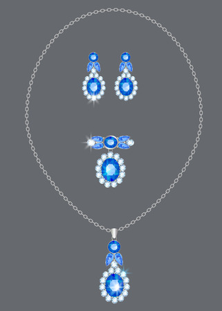 Silver pendant and earrings with diamonds and sapphires Vettoriali