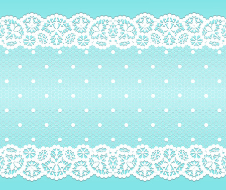 White lace vintage pattern on turquoise background