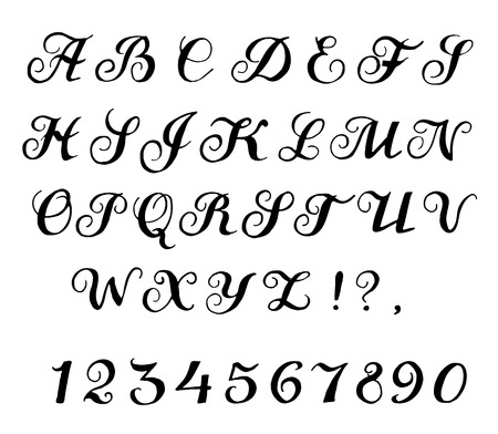 script writing: Font handmade calligraphic, alphabet and numbers vector