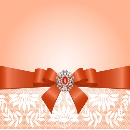 Lace border with bow and jewelery on a pink background