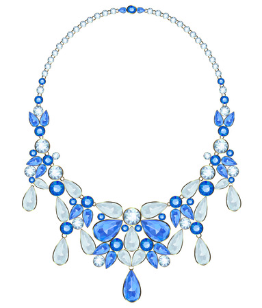 diamond necklace: Necklace with sapphires in the diamond framed on a white background Illustration