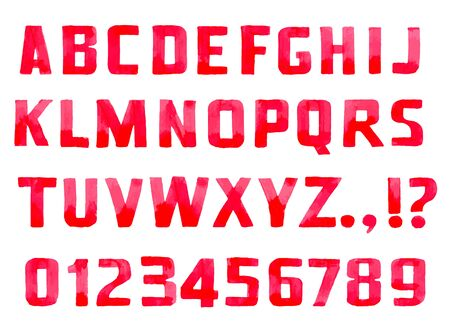 sans serif: Red handwritten font sans serif and figures