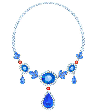 sapphires: Necklace with sapphires and rubies diamond frame