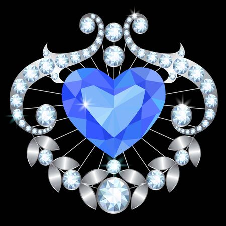 brooch: Silver brooch with a large heart-shaped sapphire and diamonds
