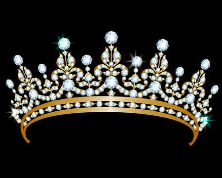 diadem: Gold diadem with diamonds on black background